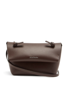 Knotted-strap mini leather cross-body bag