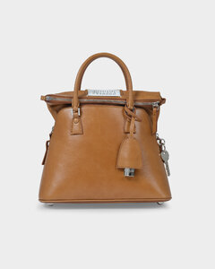 Handbag 5ac In Grained Brown Leather