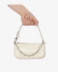 white mini Rachel mock croc leather shoulder bag
