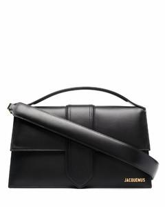 black drawstring leather shoulder bag