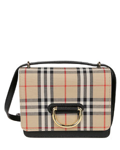 Vintage Check and leather small D-ring bag