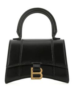 Hourglass mini black leather handbag