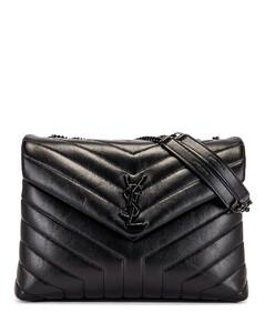 Medium Supple Monogramme Loulou Chain Bag in Black