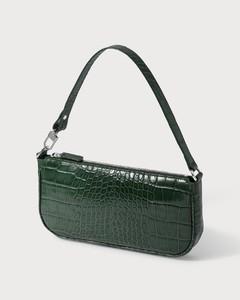 Rachel Dark Green Croco Embossed Leather Bag