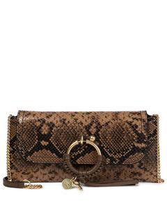 Joan蛇纹皮革手拿包
