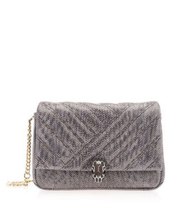 WOMEN'S 288806 GREY LEATHER SHOULDER BAG
