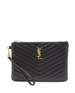YSL-plaque quilted-leather pouch