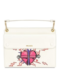 Saffiano heart patch mini bag
