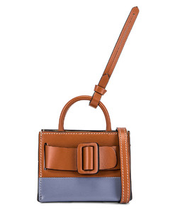 Two-Tone Bobby Charm with Strap in Blue,Brown