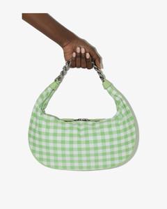 Green And White Sasha Gingham Shoulder Bag