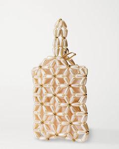 Daisy人造珍珠金色手提包