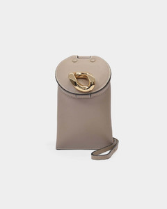 Lid Pocket Bag in Taupe Leather