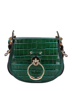 Handdbag TESS S Calfskin emboidery logo gold green