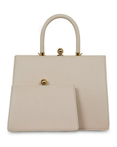 Twin Frame Leather Top Handle Bag