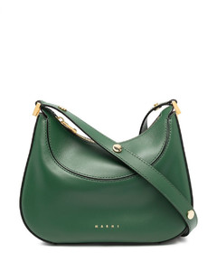Double T hammered leather hobo bag
