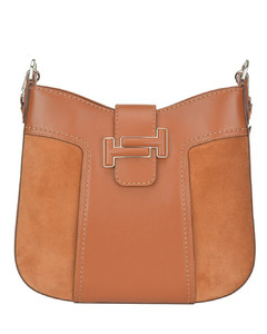 Double T suede and leather hobo bag
