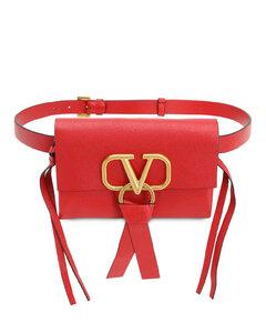 V Ring Smooth Leather Belt Bag