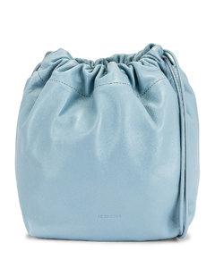 Small Crossbody Drawstring Bag in Blue