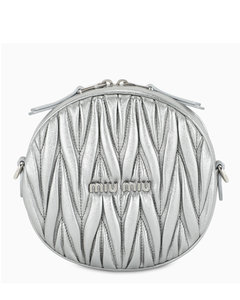 Silver cross-body bag with crystals detail