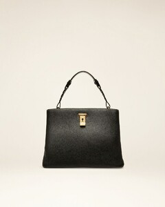 Women's calf leather shoulder bag in black