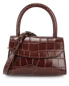 Mini crocodile-effect top handle bag