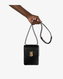 Black Valencia leather phone cross body bag