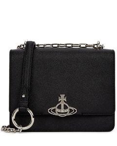 Debbie black leather shoulder bag