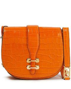 Woman Albi Croc-effect Leather Shoulder Bag