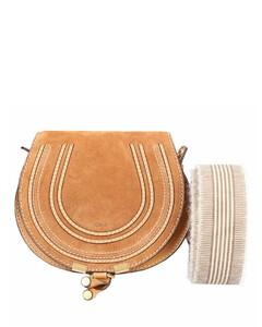 Handbag MARCIE MINI Suede Calfskin logo beige