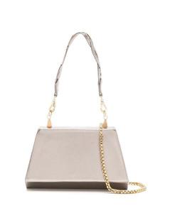 Black chain-embellished leather shoulder bag