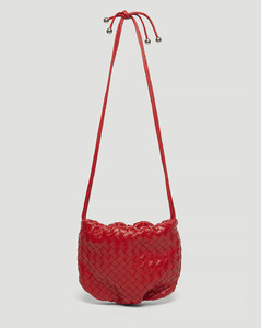 Woven Leather Shoulder Bag in Red