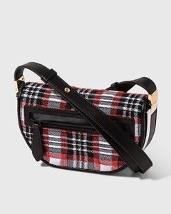 Mini Knitted Tartan and Leather Olympia Bag