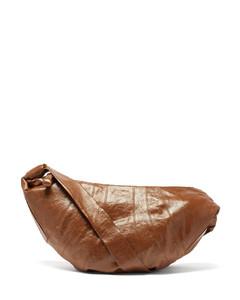 Croissant large coated-linen cross-body bag