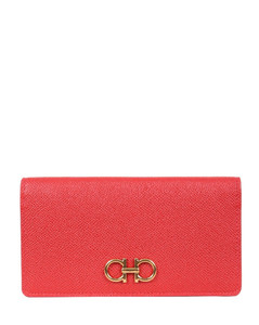 Buckle brown glossed leather pouch