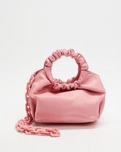 Leather Top Handle Bag In Burgundy