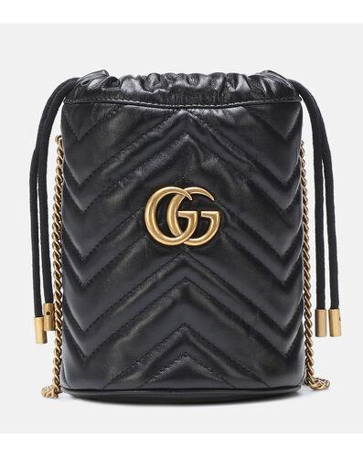 GG Marmont迷你皮革水桶包