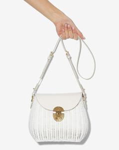 White woven wicker shoulder bag