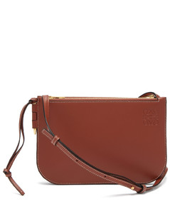 Gate double-zip leather cross-body bag