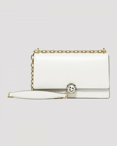 Miu Solitaire white leather shoulder bag