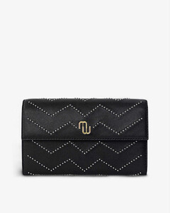 Studded quilted-leather wallet on chain
