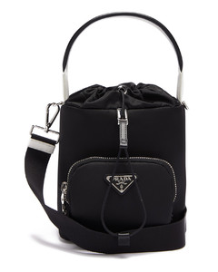 Logo-plaque nylon bucket bag