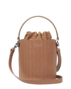 Santina Mini Bucket Bag- Tan Woven