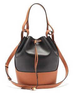 Balloon bi-colour drawstring-top leather bag
