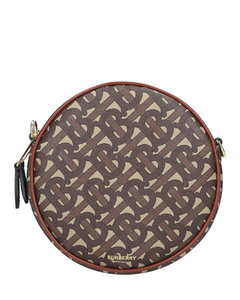 Shoulderbag LOUISE Canvas Calfskin logo printed beige brown