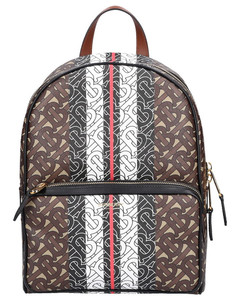 Backpack MONOGRAM STRIPE Canvas printed logo brown beige