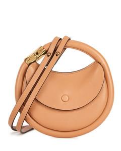 Disc mini brown leather shoulder bag