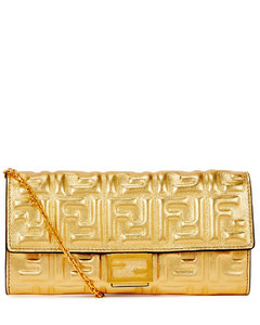 Gold logo-embossed leather wallet-on-chain