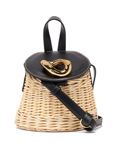 Chain Lid leather and wicker shoulder bag