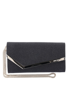 Shoulder bag EMMIE leather black glitter