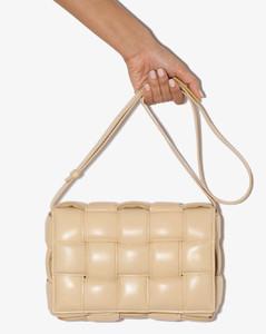 neutral Padded Cassette leather shoulder bag